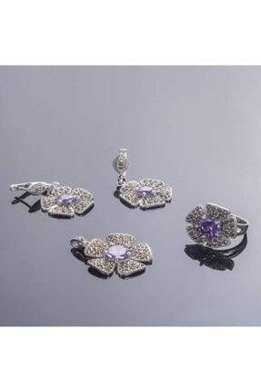 eysell jewellery Ametist Taşlı 925 Ayar Gümüş Markazit Takım