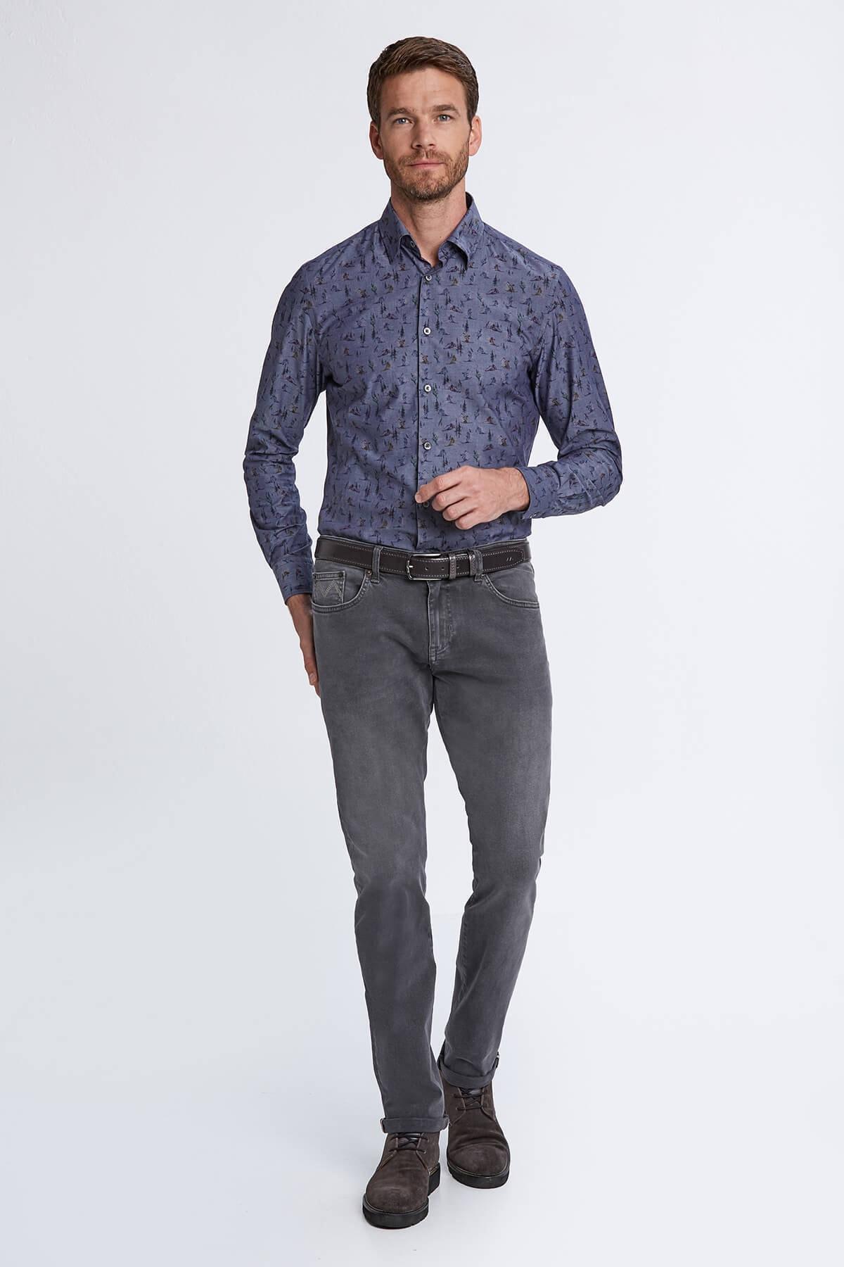 Hemington Slim Fit Gri Denim Pantolon 2