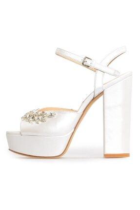 Flower Beyaz Saten Taşlı Platformlu Ayakkabı