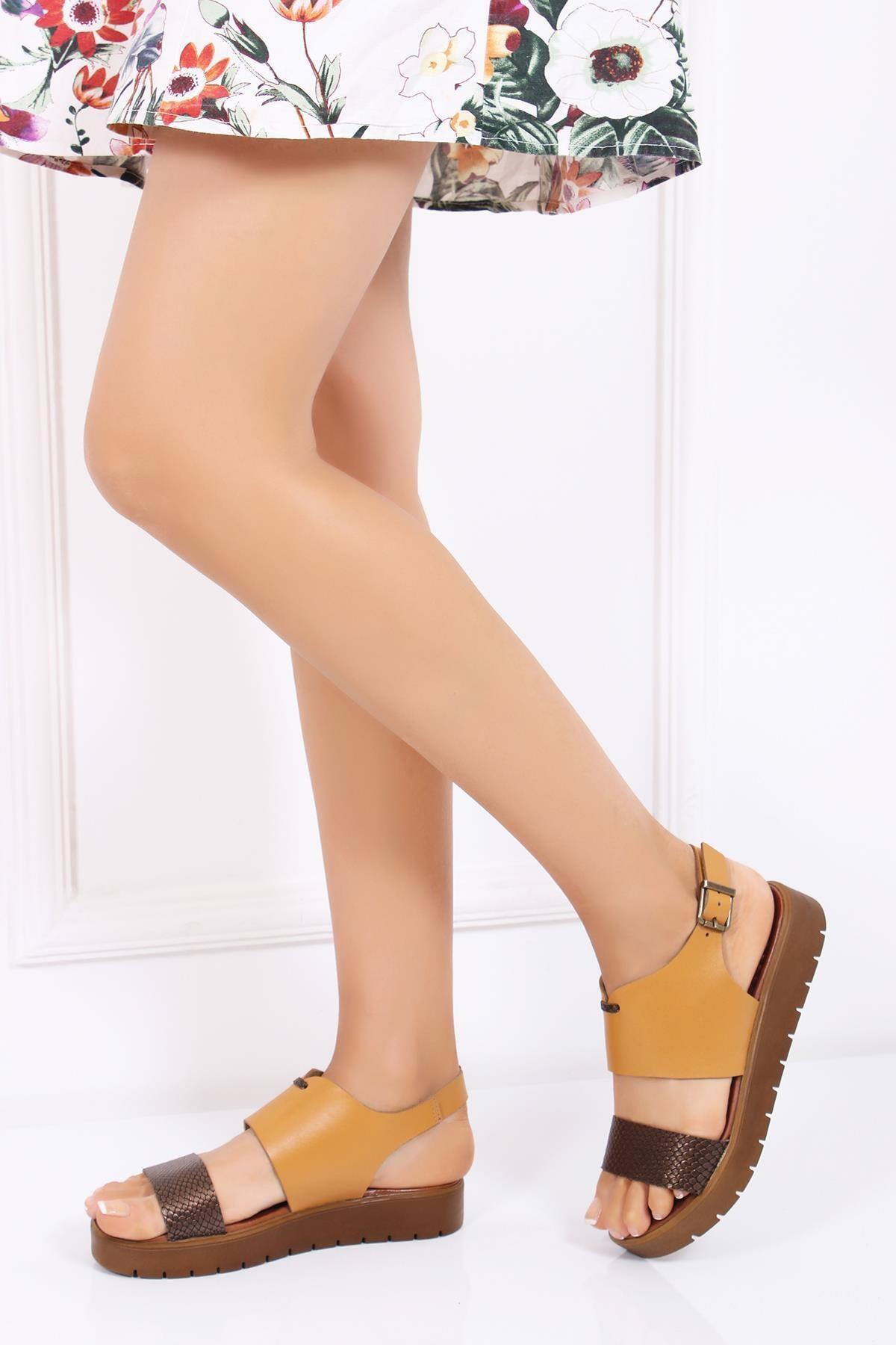Deripabuc Hakiki Deri Havana Kadın Deri Sandalet DP-0093 2