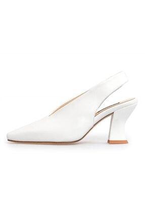 Flower Beyaz Deri Kalın Topuklu Kadın Ayakkabı