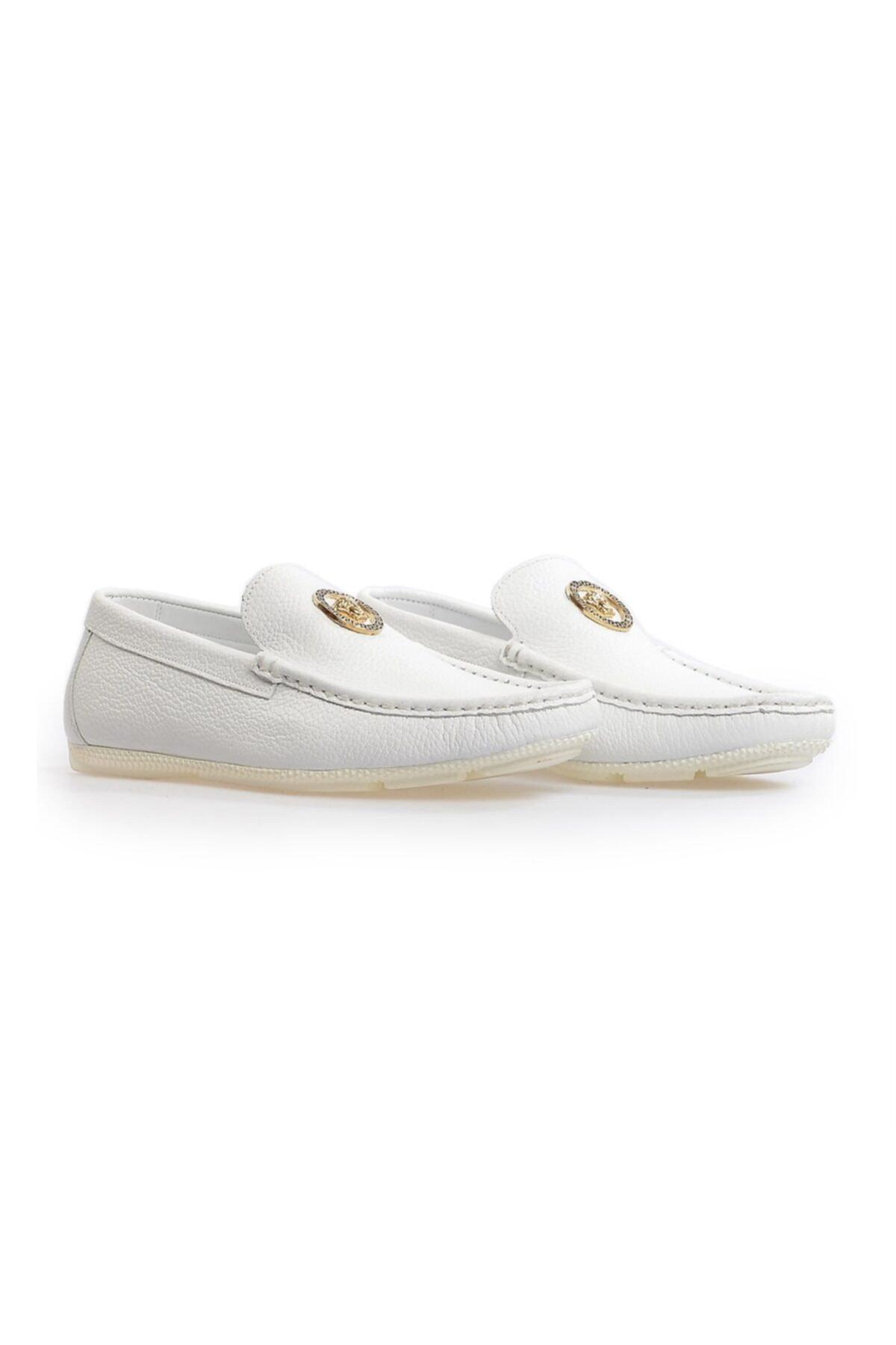 Flower Beyaz Deri Toka Detaylı Loafer Ayakkabı 2