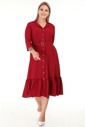 Lir Kadın Büyük Beden Eteği Büzgü Önü Düğmeli Kemerli Truvakar Kol Elbise Bordo