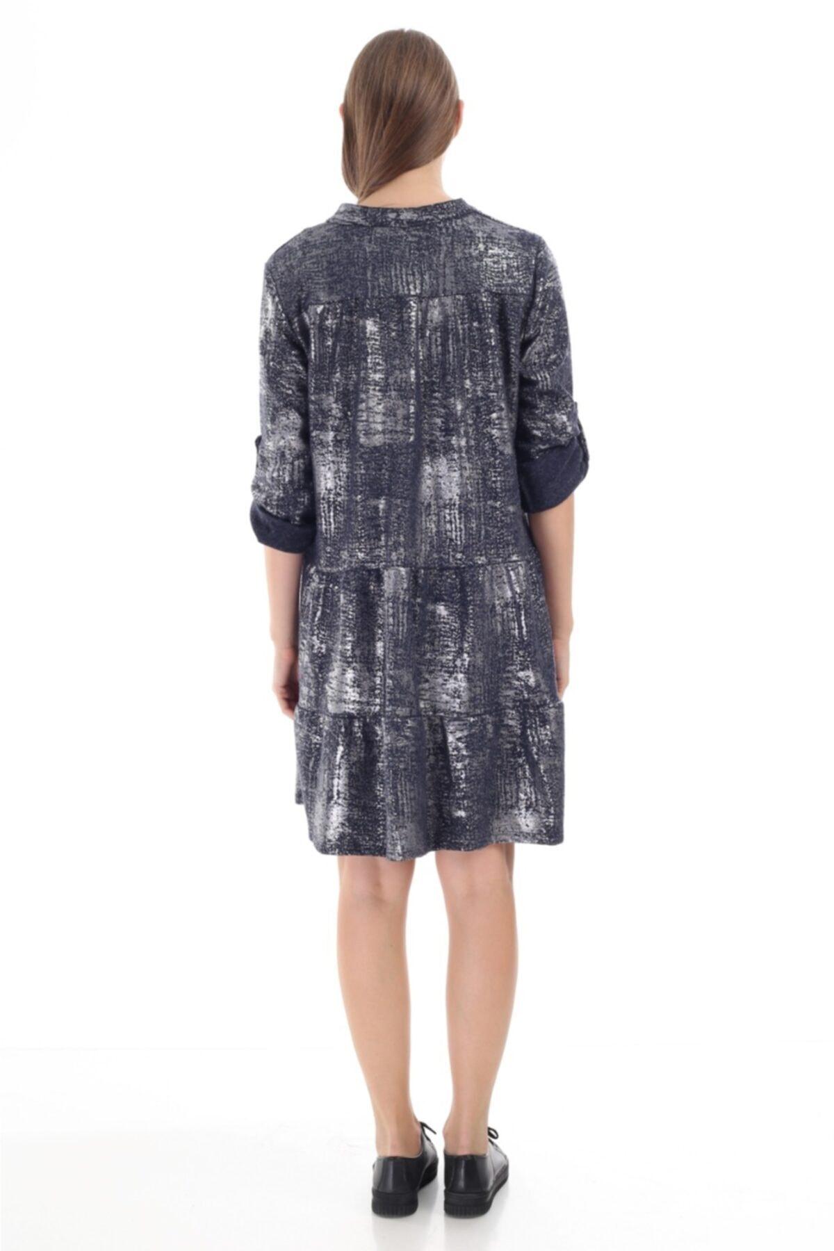 FD Fast Kadın Ithal Lacivert Sim Detaylı Italyan Model Elbise 16012 2