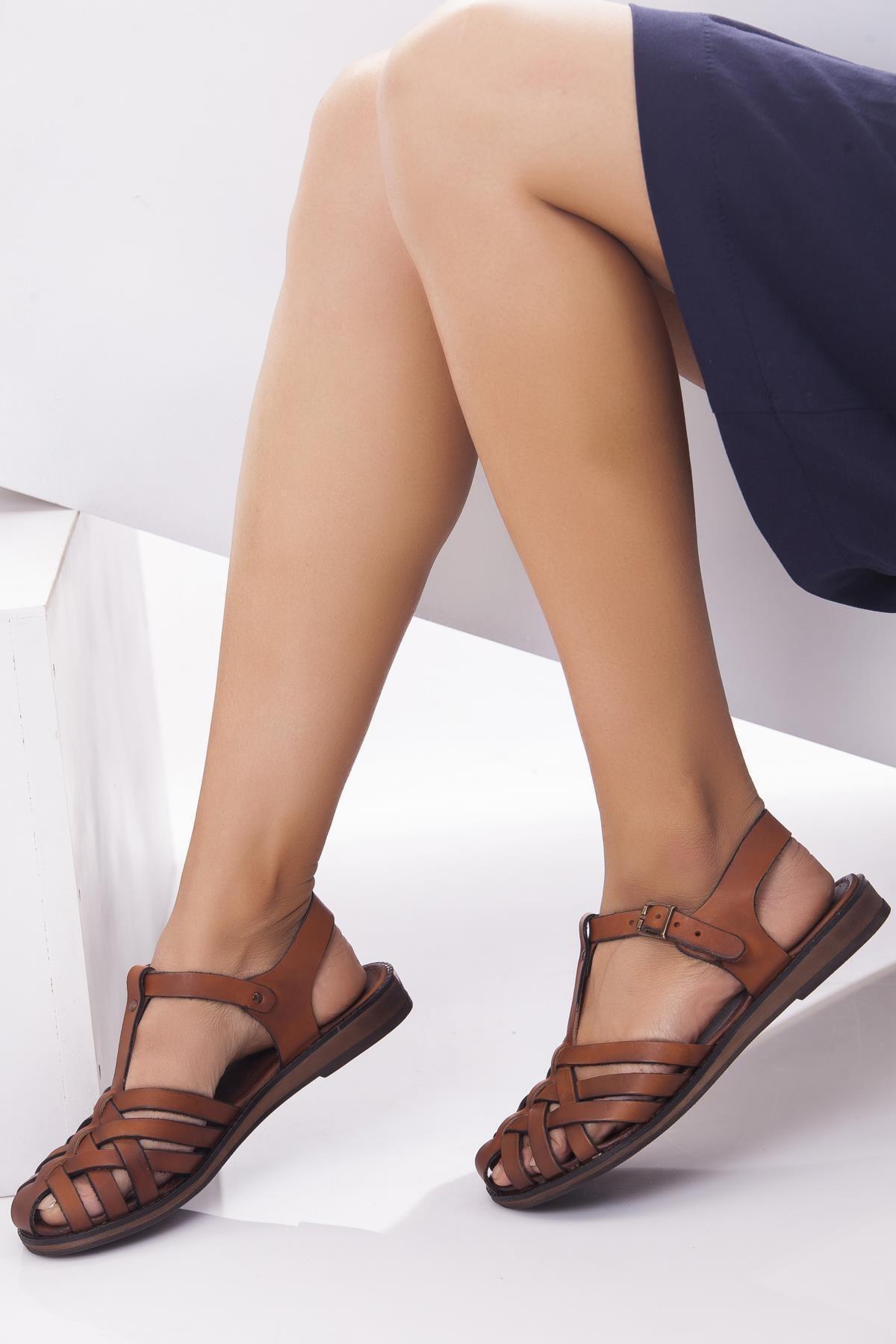 Deripabuc Hakiki Deri Taba Kadın Deri Sandalet DP-0067 2