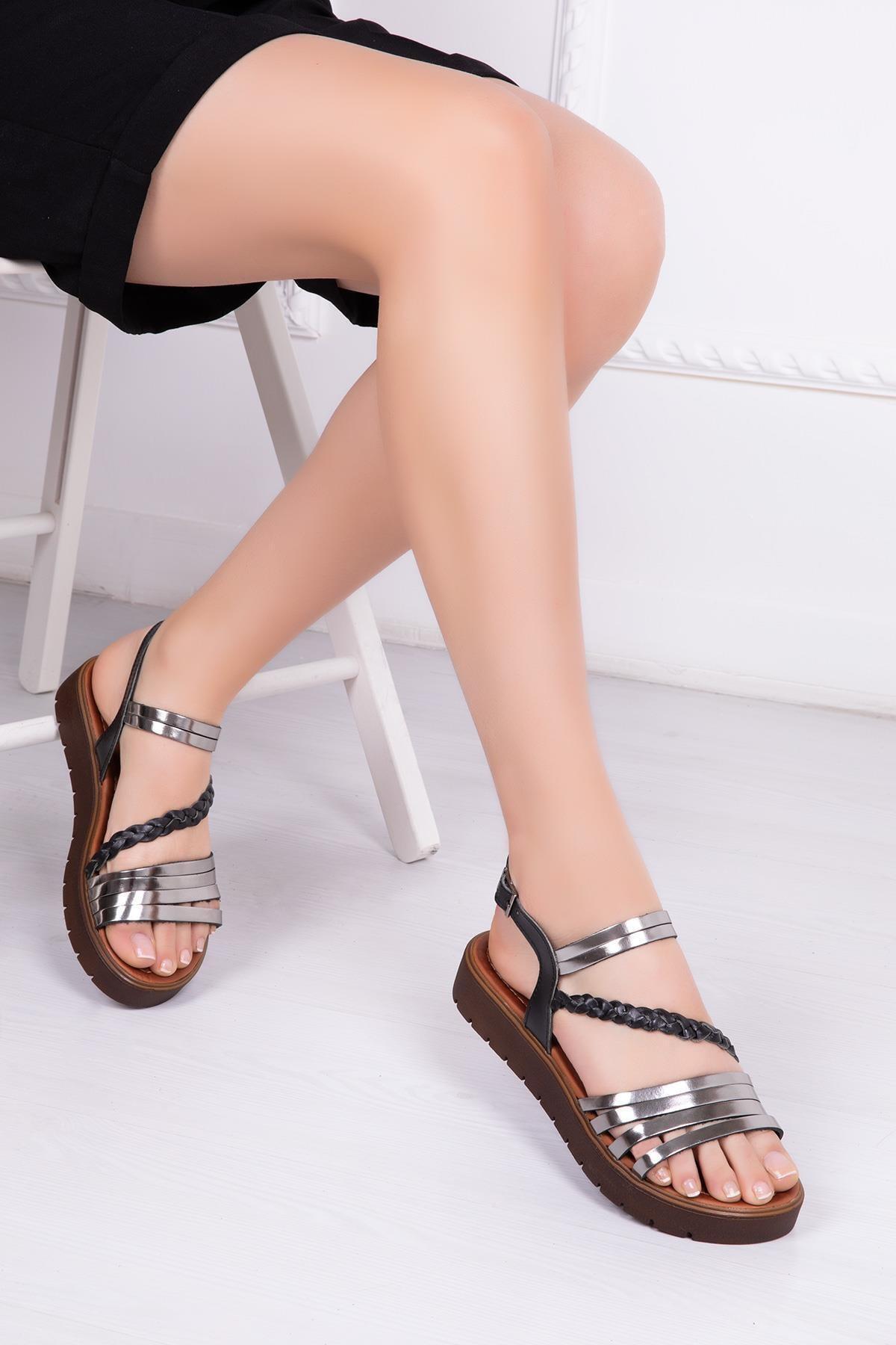 Deripabuc Hakiki Deri Siyah Gümüş Kadın Deri Sandalet Rma-3130 1