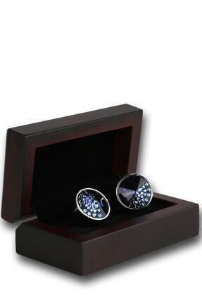 Kravatkolik Gümüş Renk Lacivert Taşlı Kol Düğmesi Kd1191