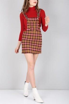 Trend Giysen Ekose Desenli Bayan Salopet 824k