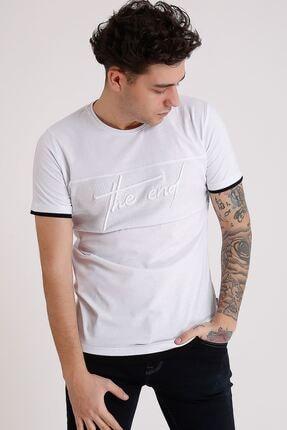 LTC Jeans Bisiklet Yaka Nakışlı Beyaz Erkek Penye T-shirt