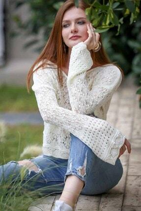 Chiccy Kayık Yaka Yaprak Desenli Kolları Geniş Triko Bluz