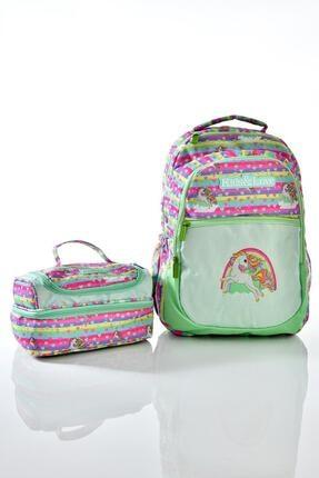 KAUKKO Kıds Love Rainbow Unicorn Simli Okul Sırt Çantası L5022 Beslenme Çantalı Set