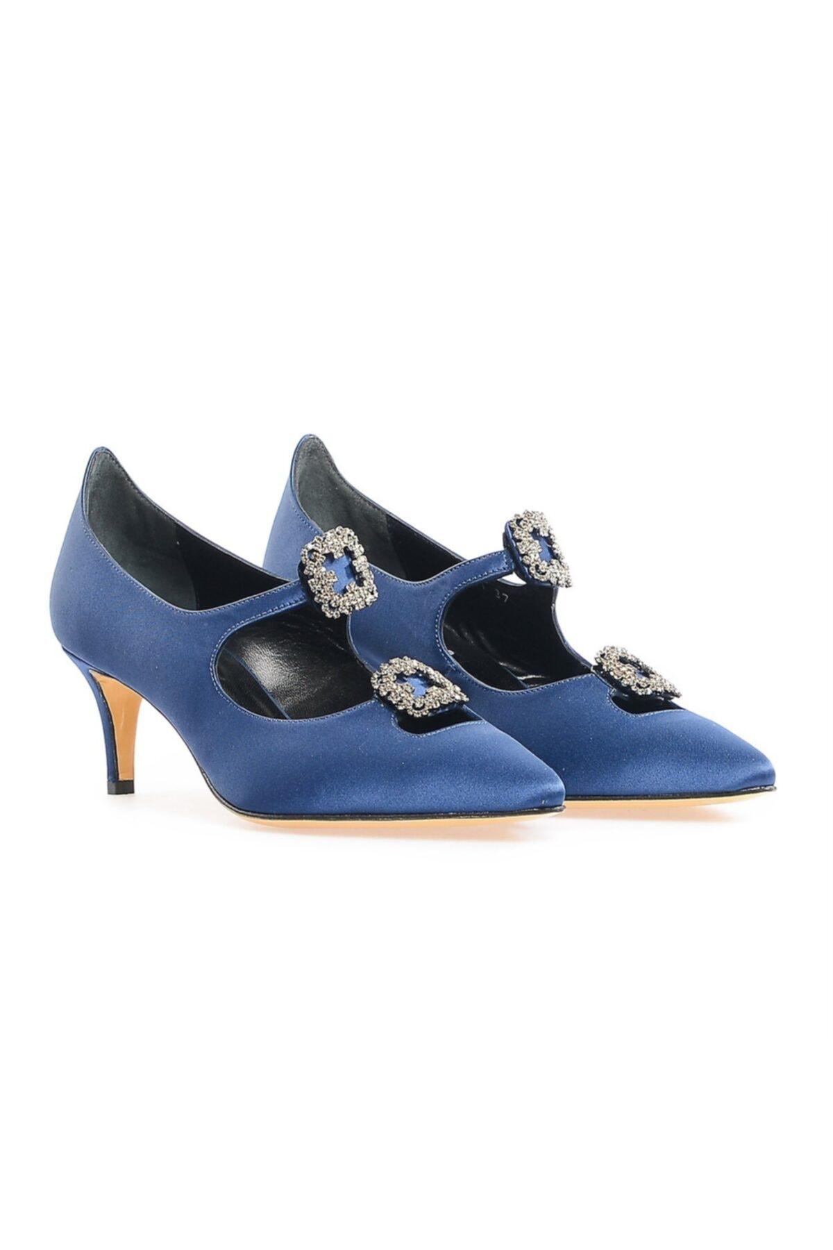 Flower Lacivert Çift Tokalı Ayakkabı 1