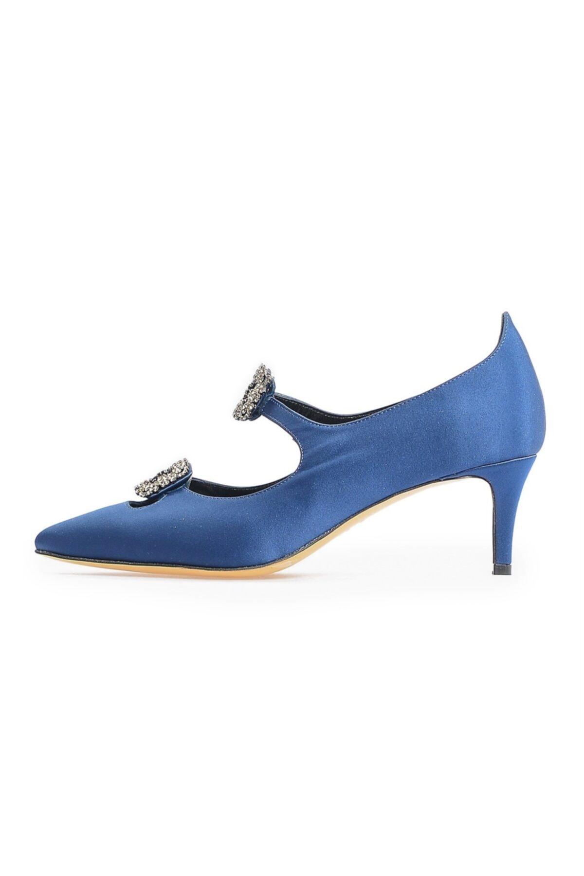 Flower Lacivert Çift Tokalı Ayakkabı 2
