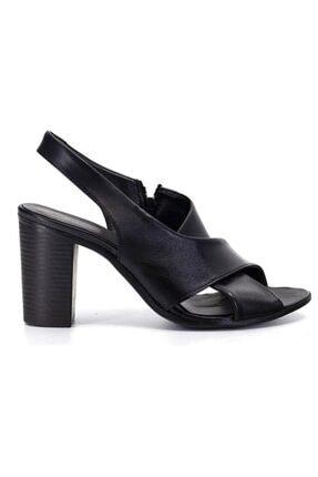 Mammamia 1050 Siyah Deri Trend Sandalet