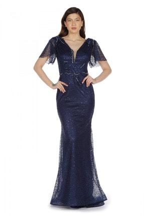 Pierre Cardin Carmen Lacivert Yarım Kol Beli Işlemeli Uzun Abiye Elbise