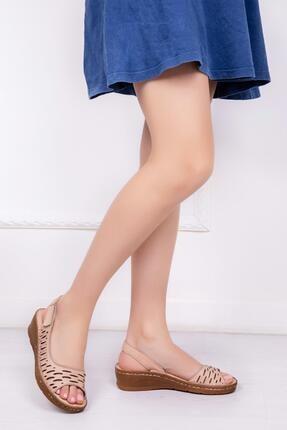 Deripabuc Hakiki Deri Bej Kadın Deri Sandalet Dp16-0600