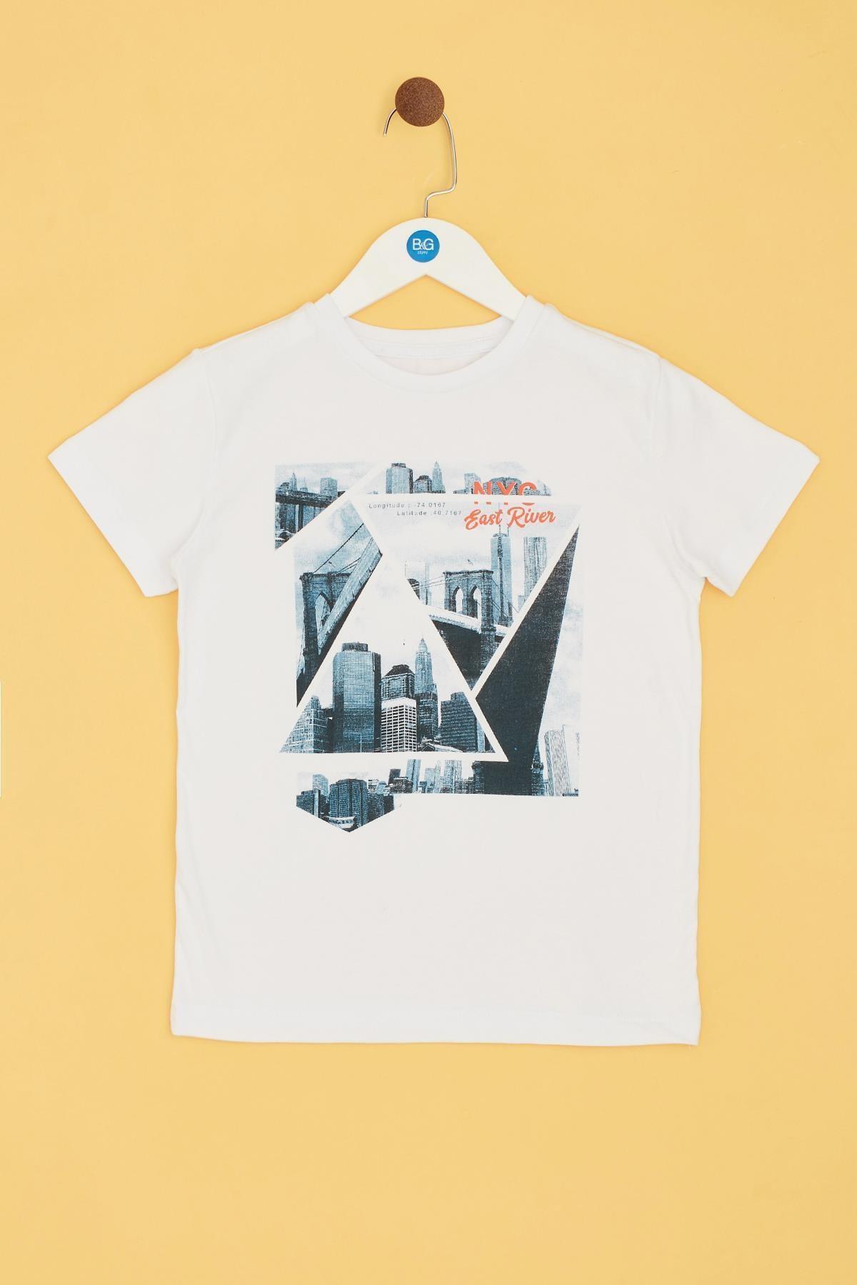 Nebbati Erkek Çocuk Beyaz T-shirt 2