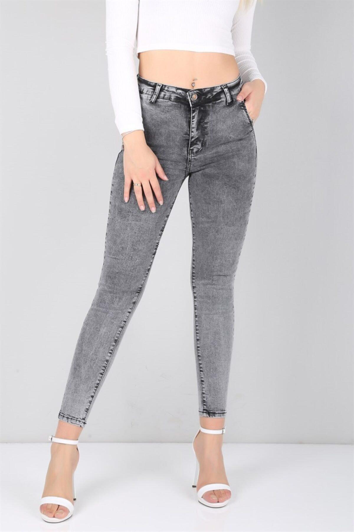 Trend Giysen Füme Yüksek Bel Likralı Bayan Kot Pantolon 2
