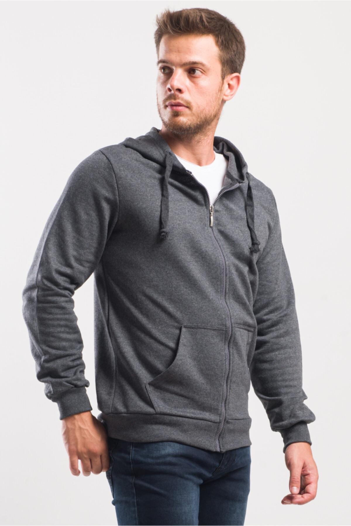 caddecity Düz Fermuarlı Kapş. Kanguru Cep Detay Sweatshirt 2