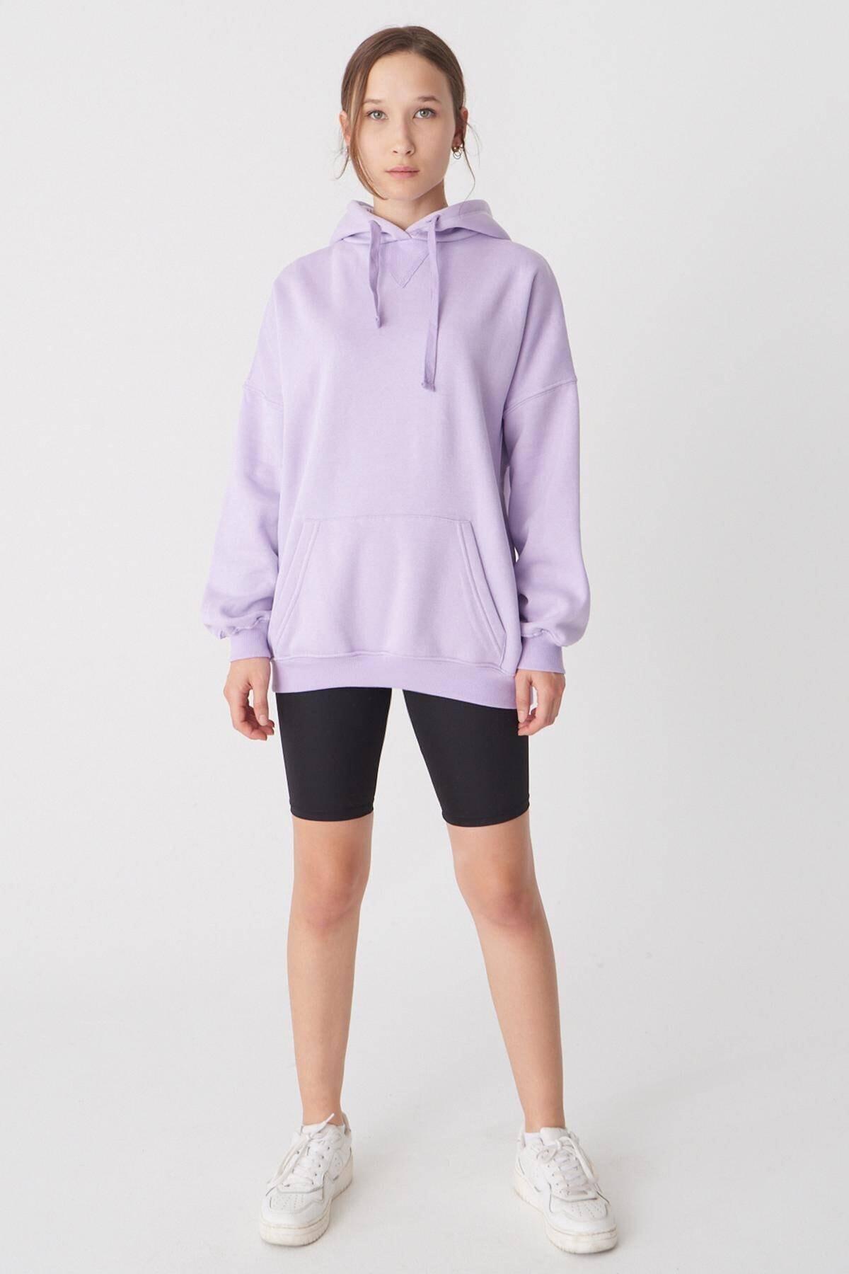 Addax Kadın Lila Kapüşonlu Sweatshirt S0519 - P10 - V2 ADX-0000014040 2