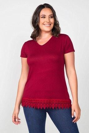 Womenice Büyük Beden Bordo Eteği Dantel Işlemeli Bluz
