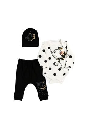 Miniworld 3-6 Ay Kedi Desenli % 100 Pamuk Kız Bebek Takımı