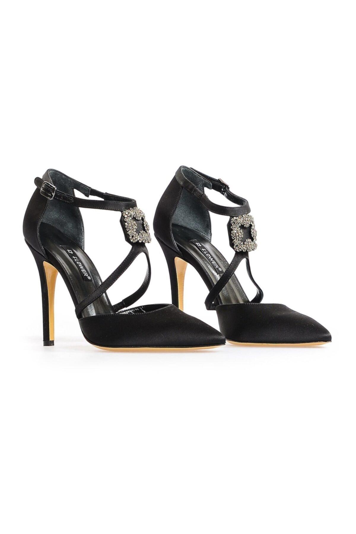 Flower Siyah Ortadan Tokalı Abiye Ayakkabı 1