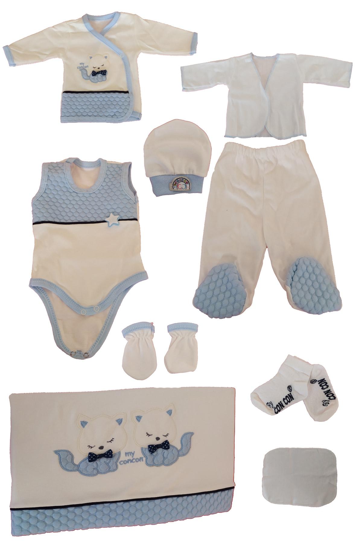 TangModa Yeni Doğan Mavi 0 Ila 3 Ay Hediyelik Erkek Bebek Kıyafeti 10 Parça Hastane Çıkışı 2