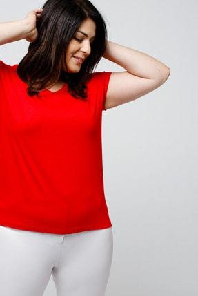 Ebsumu Kadın Büyük Beden V Yaka Basic Kısa Kollu Kırmızı Tişört