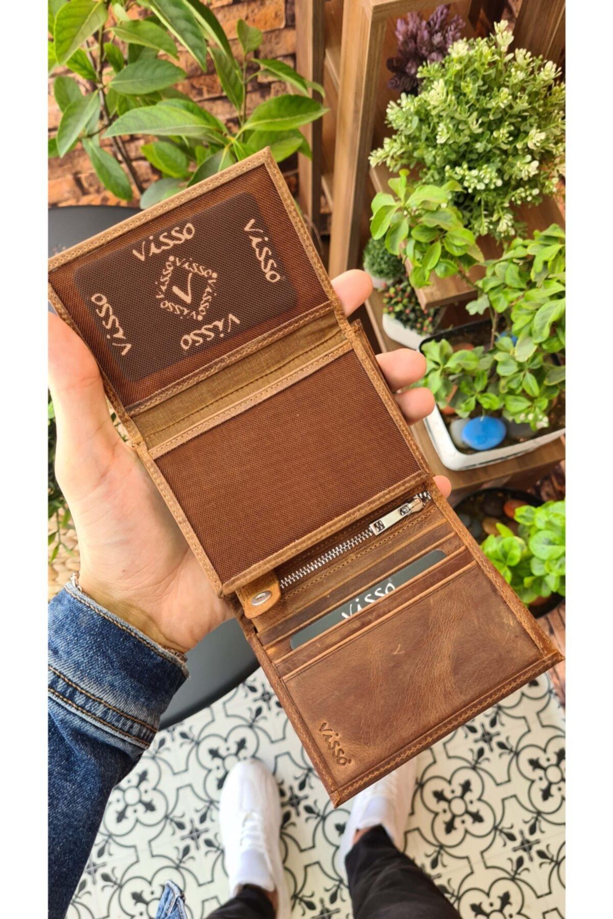 Visso leather Visso 114 Hakiki Deri Cüzdan Erkek Kadın Deri Kartlı Cüzdan Çanta 2