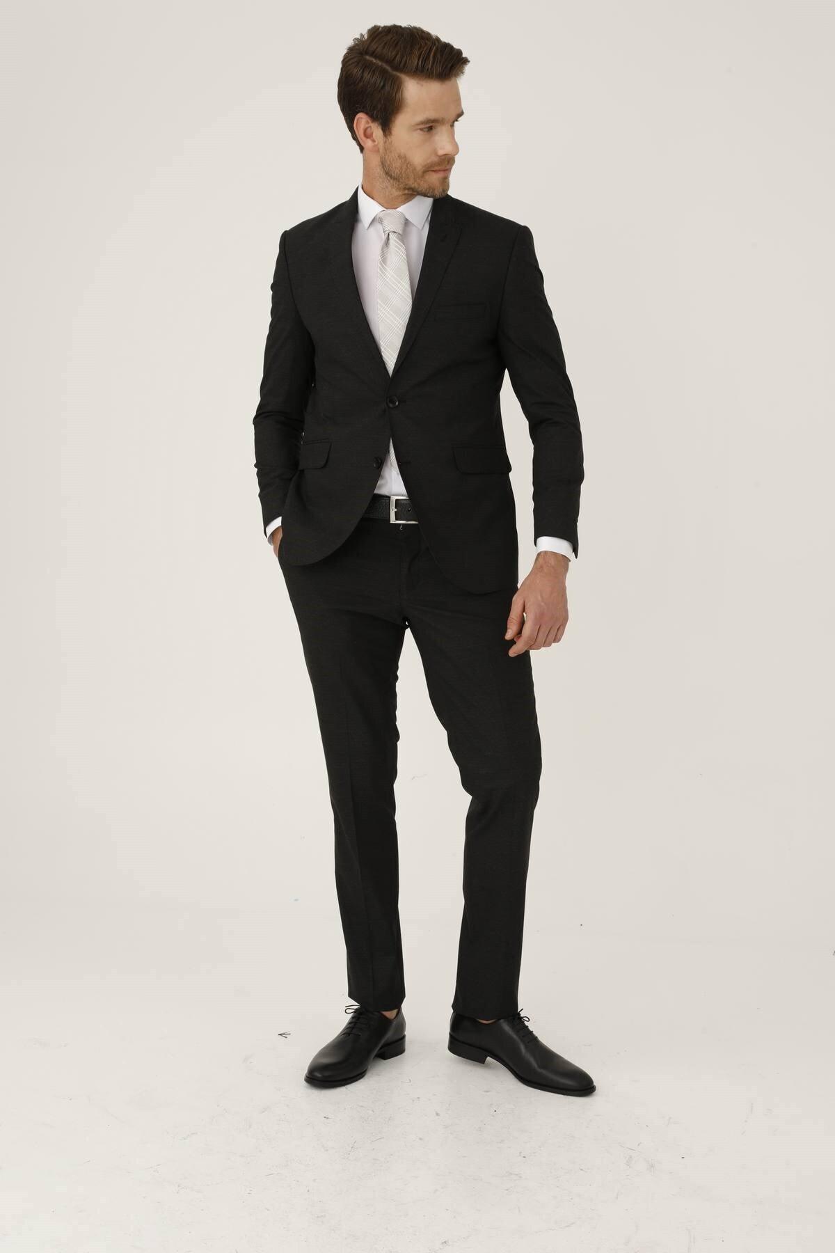 İgs Erkek K.gri Slım Fıt / Dar Kalıp Ince Kırlangıç Takım Elbise 1