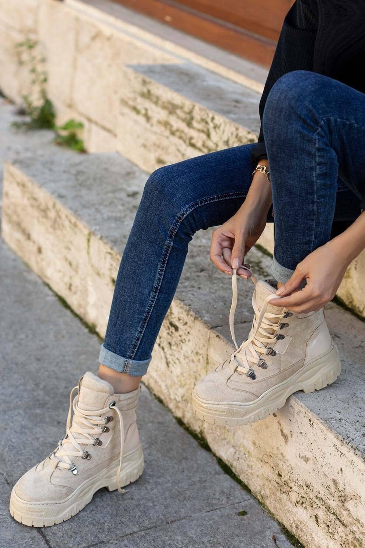 Lila Ayakkabı Kadın Bej Süet Spor Bot&bootie 1