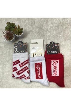 ADEL ÇORAP 3'lü Unisex Supreme Temalı Kolej Çorap Seti