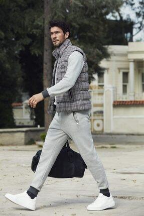 Dufy Karma Renk Ekose Desen Şişme Erkek Yelek Mont - Slım Fıt