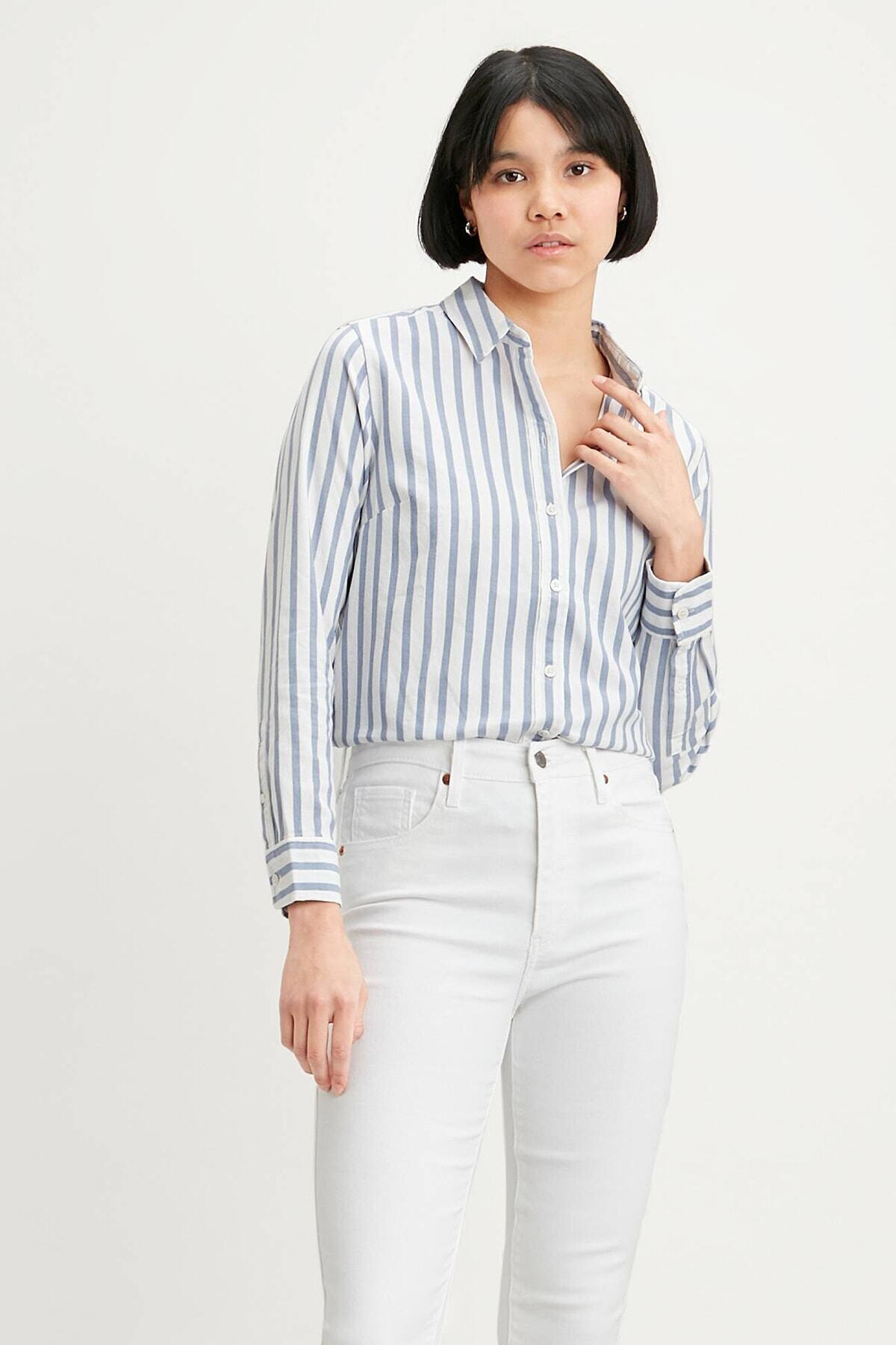 Levi's Kadın Mavi Çizgili Düz Yaka Gömlek Gömlek 34574 1