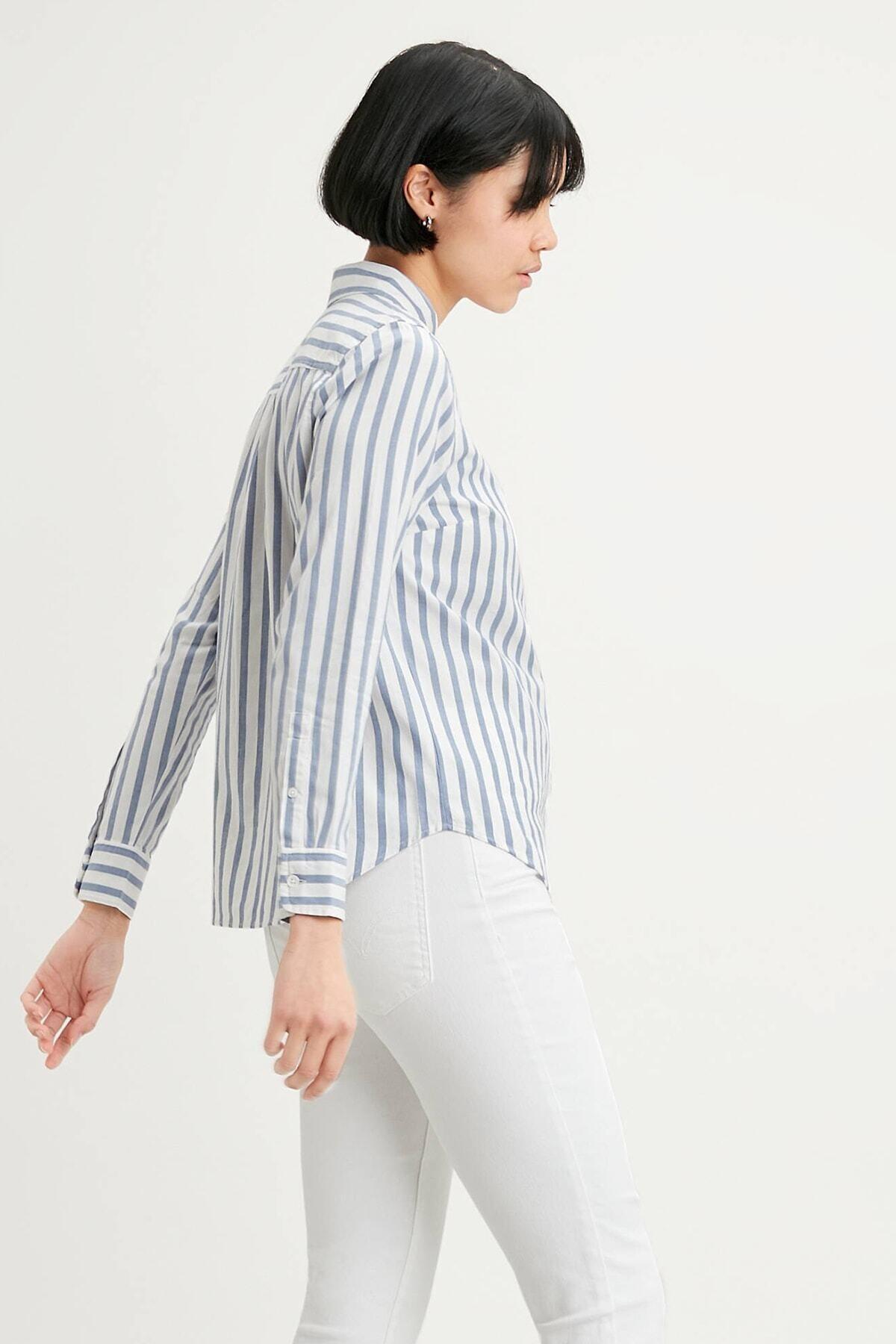 Levi's Kadın Mavi Çizgili Düz Yaka Gömlek Gömlek 34574 2