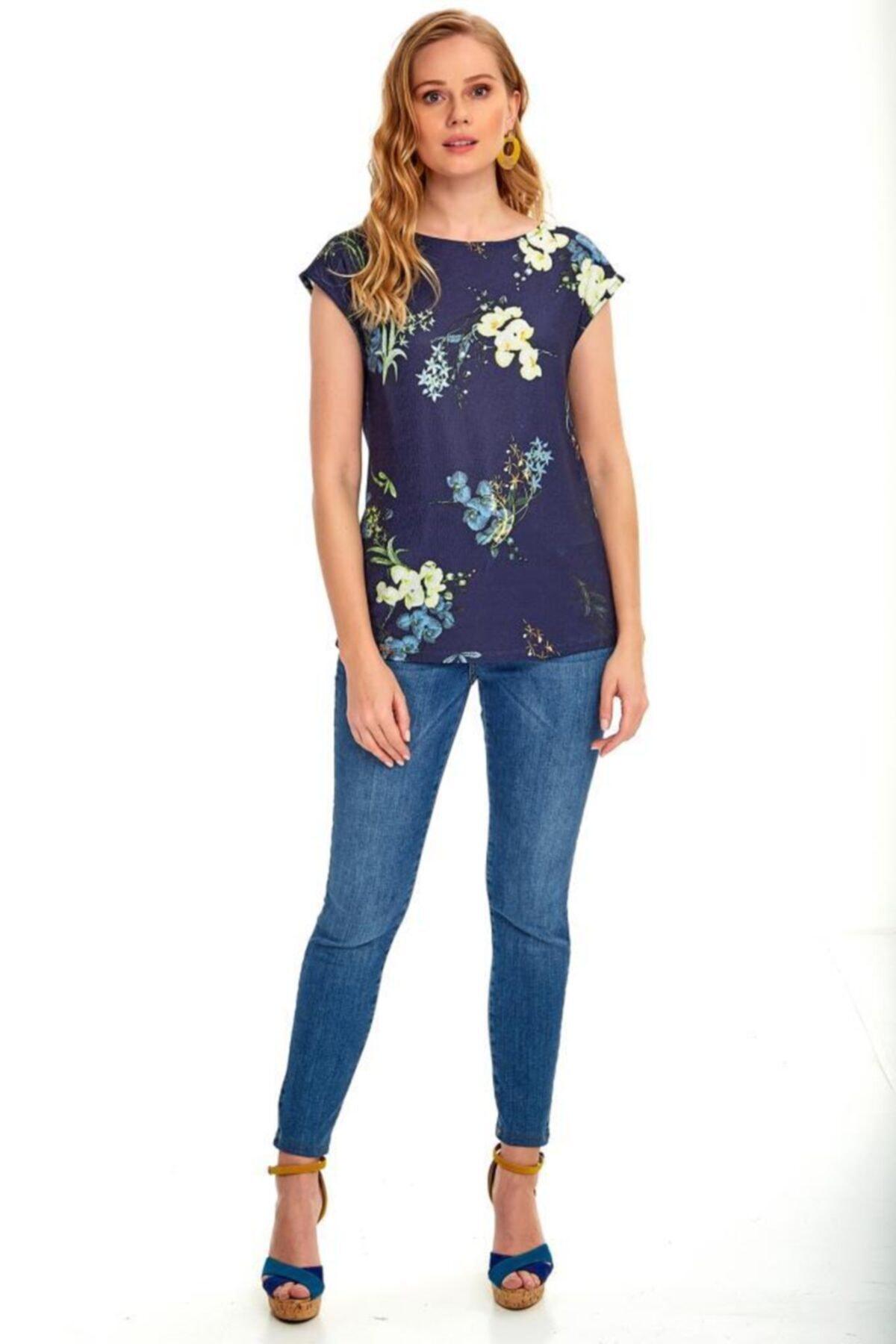 İKİLER Kadın Lacivert Düşük Kol Desenli Bluz 020-1010 2