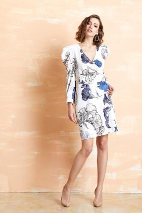 SERPİL Kadın Bej-mavi Çiçek Desenli Elbise 32726