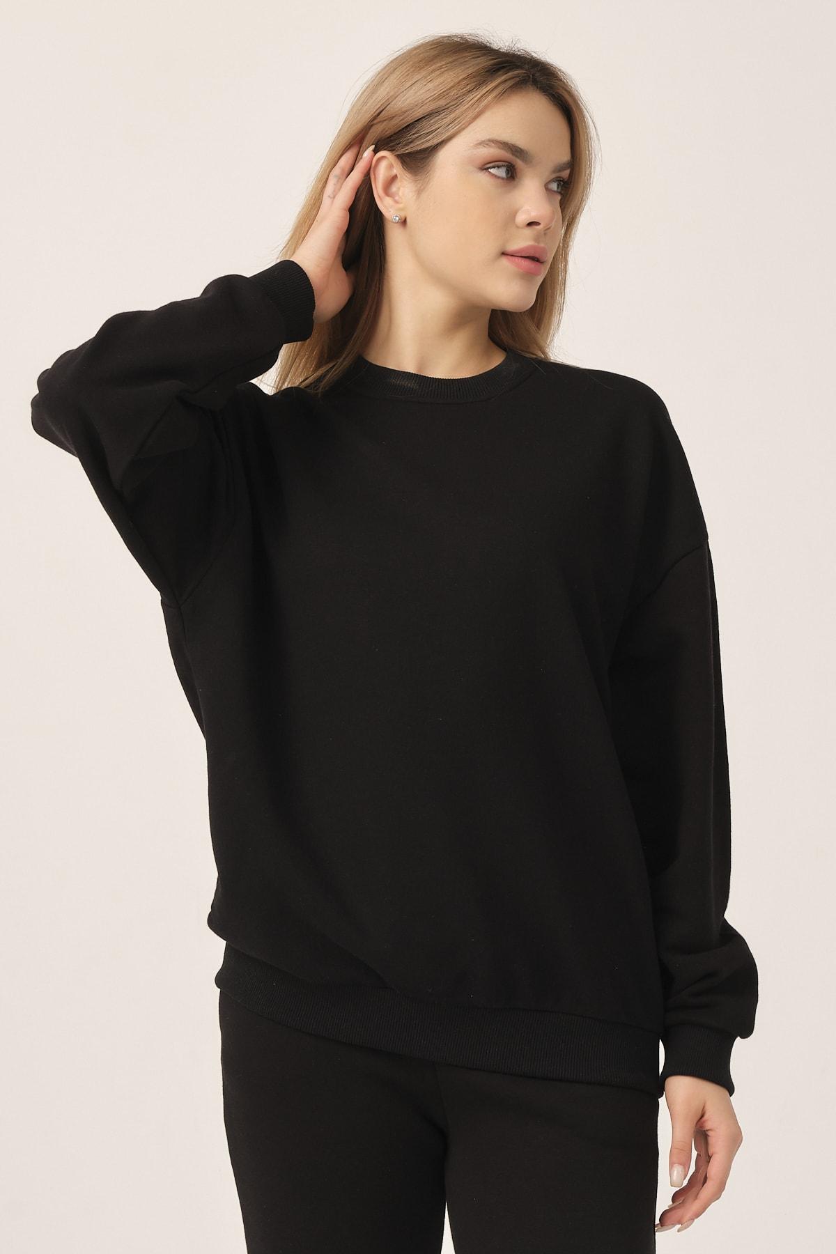 to COSMOS Oversıze Sweatshırt Kadın Renk Sıyah 2