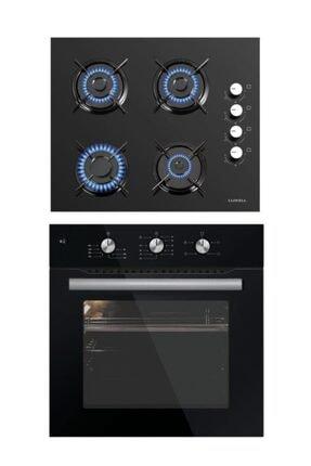 Luxell 2'li Set (B66-sf2 Kristal Siyah Fırın - Lx-40 Tahdf Siyah Ocak)