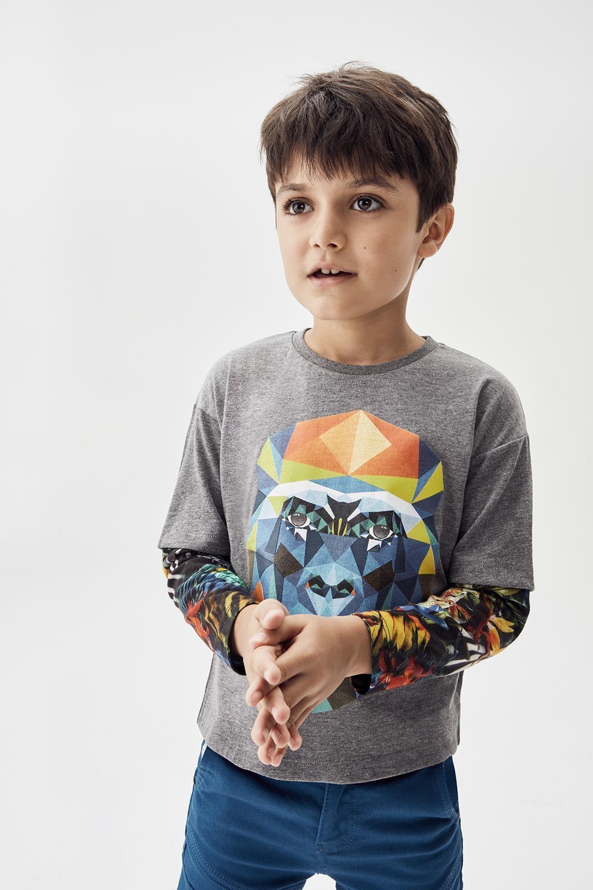 Nebbati Erkek Çocuk Gri Melanj T-shirt 20fw0nb3510 1