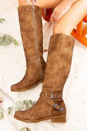 Fox Shoes Vizon Baskı Kadın Çizme E726203409