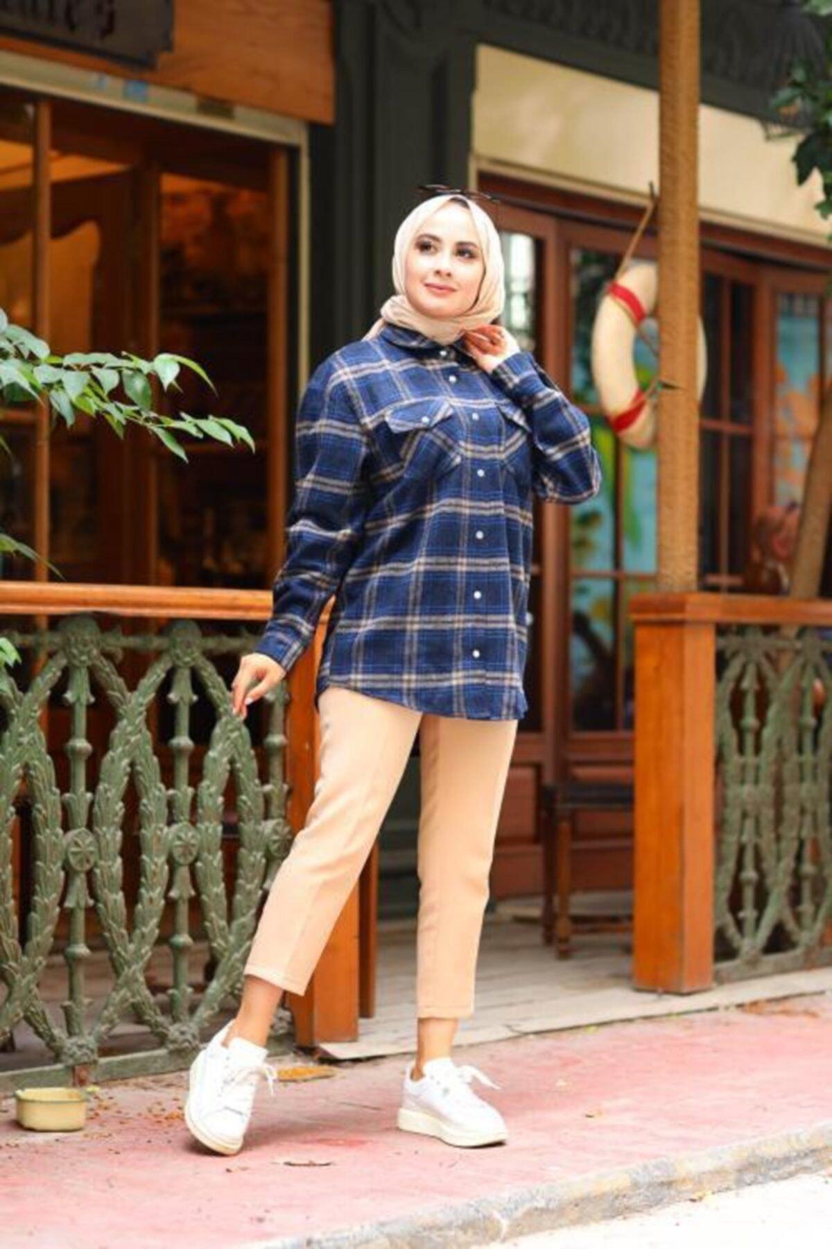 Moda Perla Kadın Lacivert Çıtçıtlı Ekose Gömlek 4002-17 2