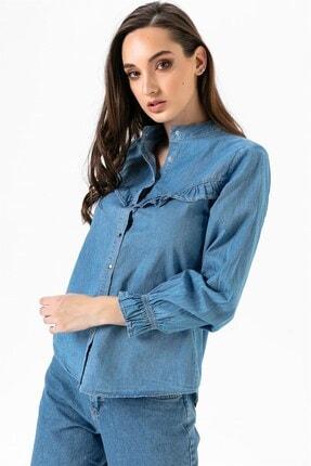 By Saygı Göğüs Kısmı Fırfırlı Kot Gömlek Mavi