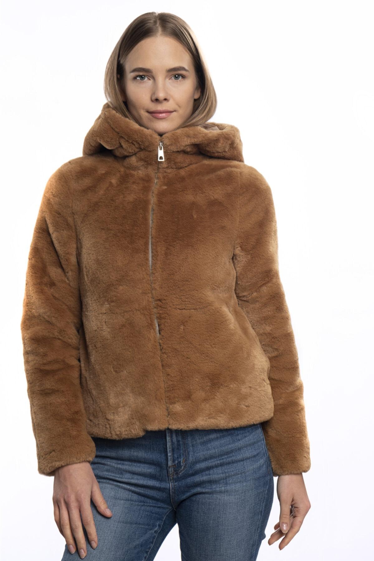 Vero Moda Kadın Kahverengi Kapüşonlu Kürk 10230893 Vmthea 1