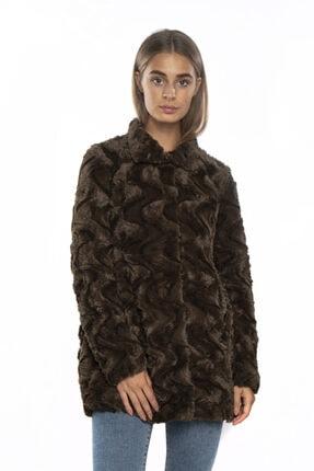 Vero Moda Kadın Haki Siyah  Kürk Mont
