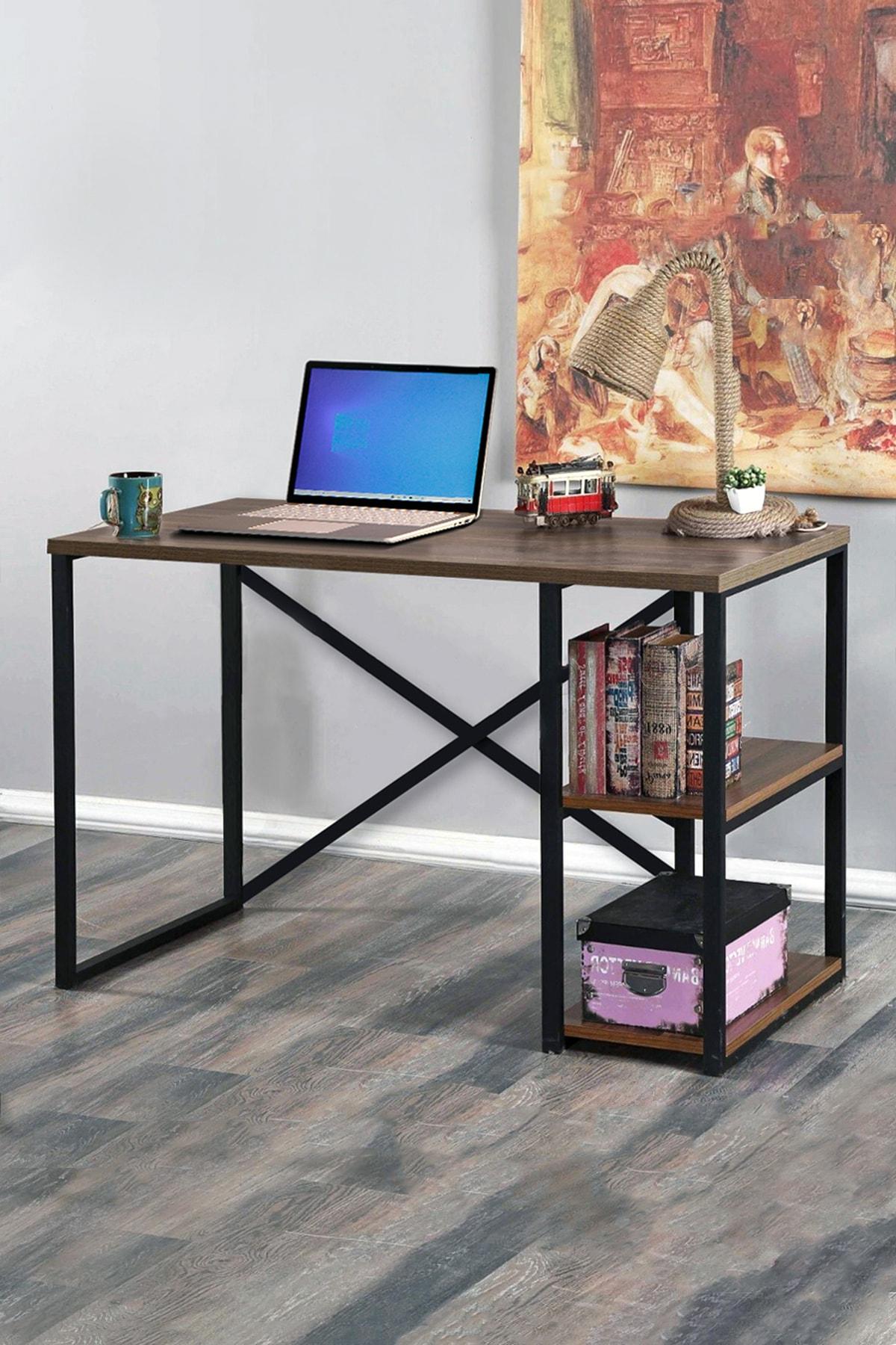 Morpanya Metal Çalışma Masası Laptop Bilgisayar Masası 2 Raflı Ders Ofis Çalışma Masası 60x120 Ceviz 1