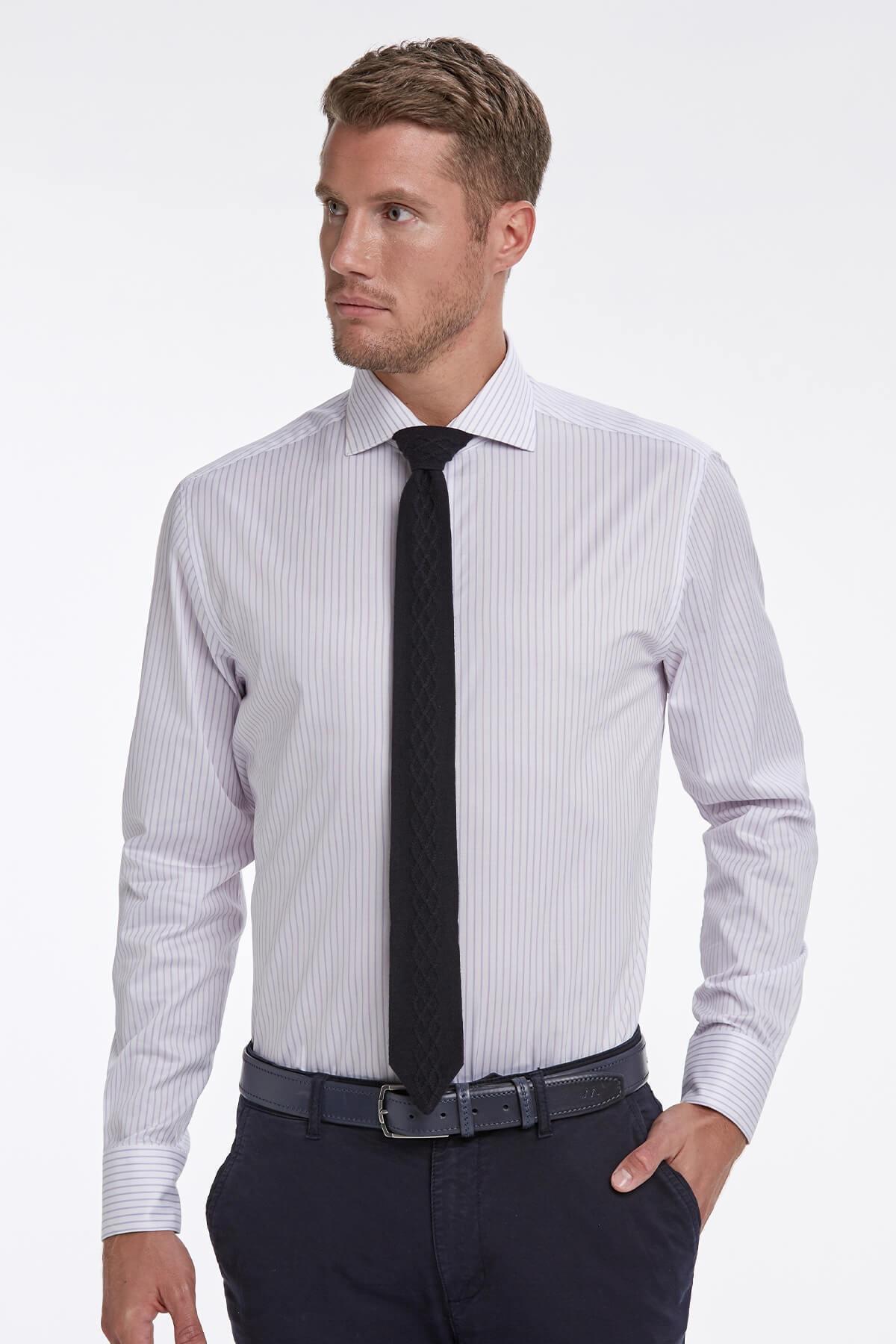Hemington Lila Beyaz Çizgili Business Gömlek 1
