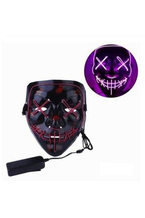 ErdemShop Hallowen Led Işıklı Neon Maske 3 Modlu Parti Eğlence Maskesi