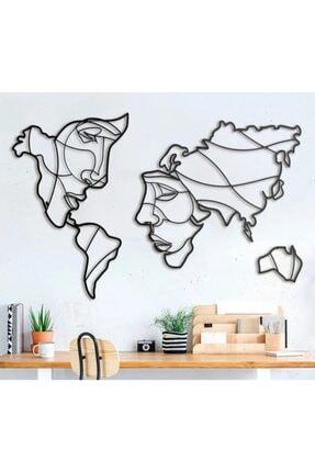 asyahsap Yüz Siluetli Dünya Haritası Dekoratif Duvar Tablosu